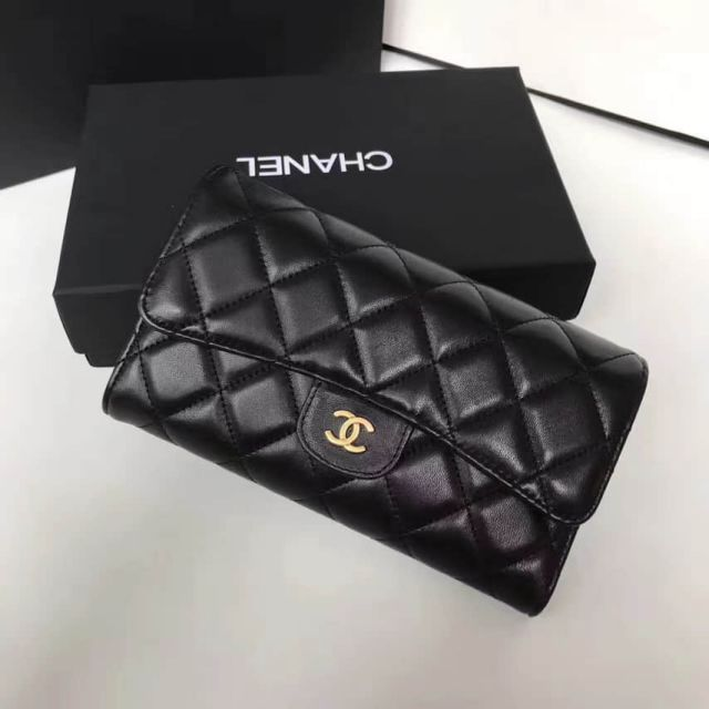 CC Soft Leather Long A31506 Black Wallets Women Bags