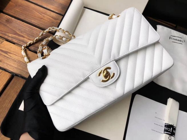 2018ss CC Leather V Chain CF White Gold Buckle Shoulder Bags Women Bags