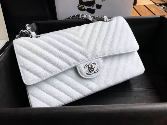 2018ss CC Leather V Chain CF White Silver Buckle Shoulder Bags Women Bags