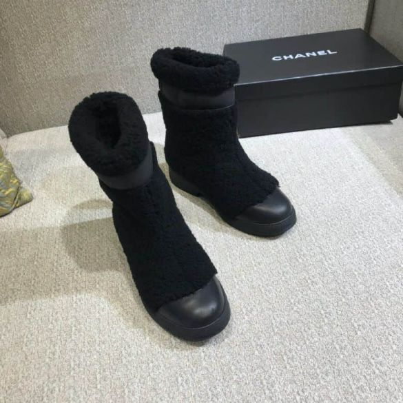 CC 2018ss Leather Wool logo Boots Women Shoes