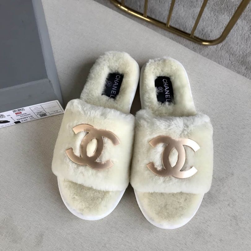 CC 2018 Fur Leather Slippers Women Shoes