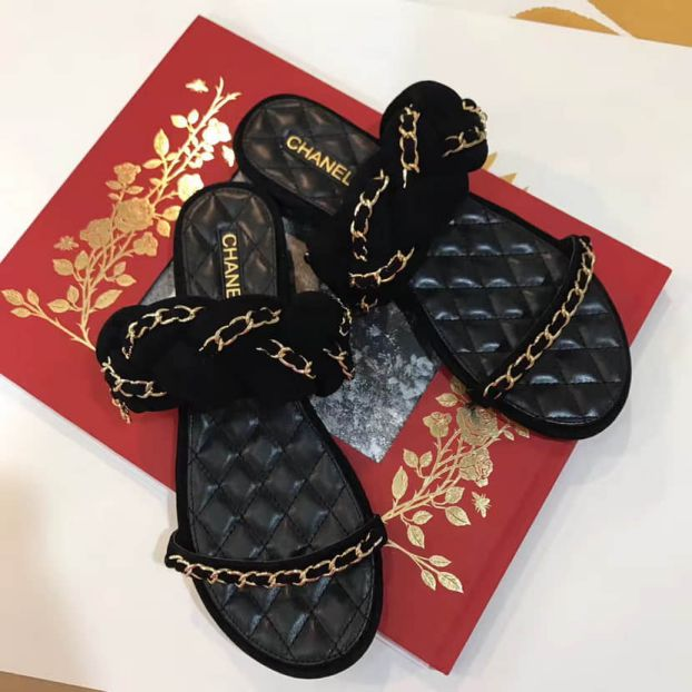 2017SS Chain Flat Slippers Women Shoes