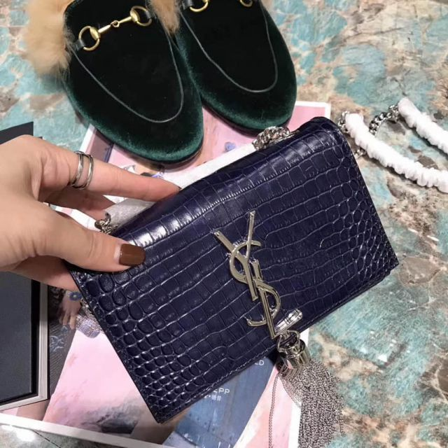 YSL 17cm Crocodile Pattern Bag on Chain 354120 Blue Shoulder Bags