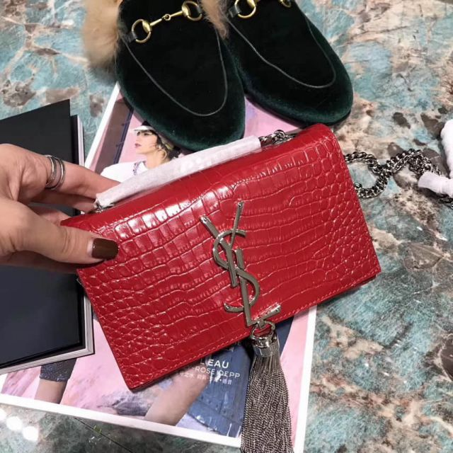 YSL 17cm Crocodile Pattern Bag on Chain 354120 Red Shoulder Bags