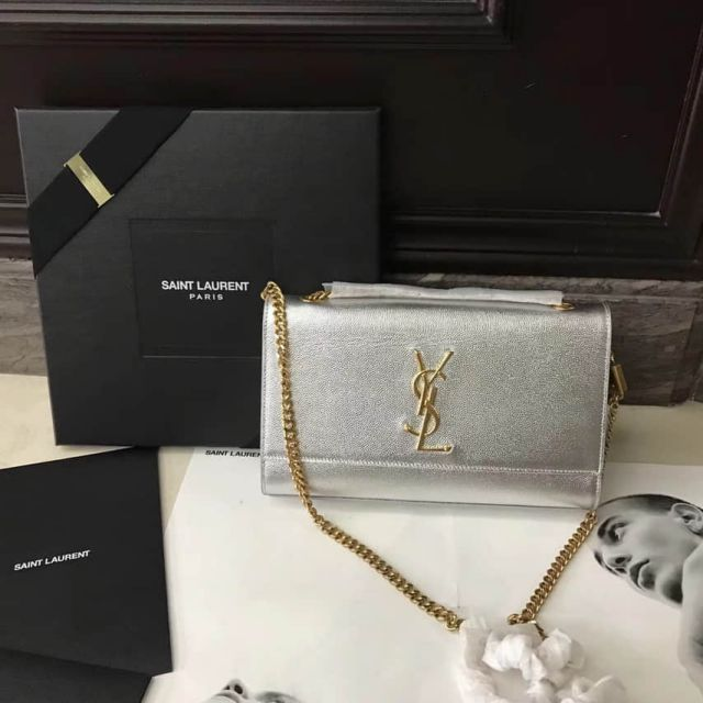 YSL Caviar Leather Chain Crossbody Bag 354021 Silver Gold Buckle Shoulder Bags