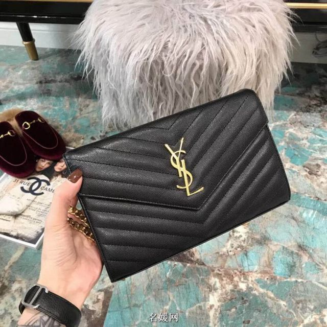 YSL Black Caviar Gold Buckle Envelope Chain Crossbody 360452 Shoulder Bags