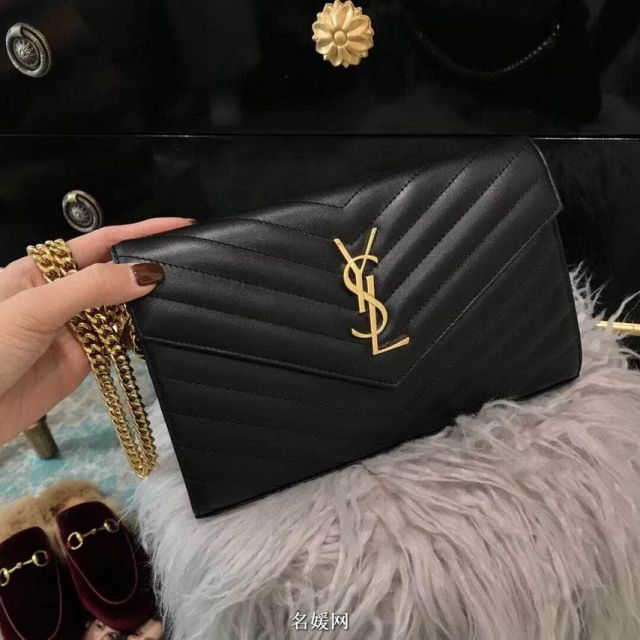 YSL Black Leather Gold Buckle Chain Crossbody Bag 360452 Shoulder Bags