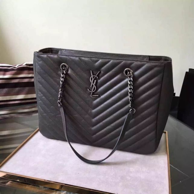 YSL Classic Large MONOGRAM Grey Leather Shopper Tote Bags