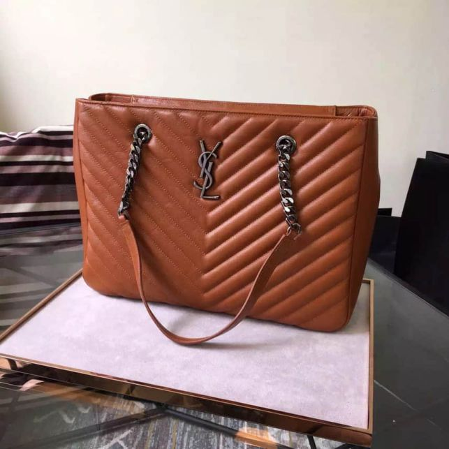 YSL Classic Large MONOGRAM Brown Leather Shopper Tote Bags