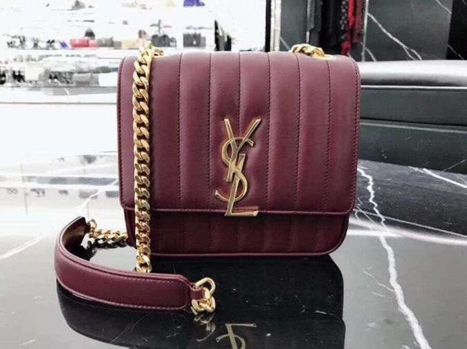 YSL 2018 VICKY Medium Leather Bag on Chain 532612 Shoulder Bags