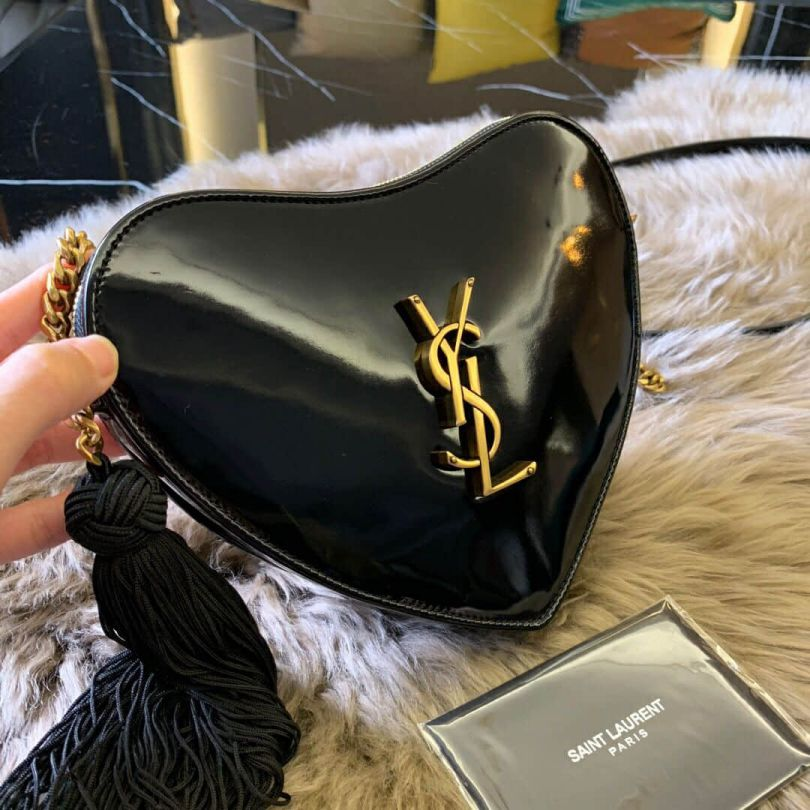 YSL CŒUR Black Patent Bag on Chain 540694 Shoulder Bags