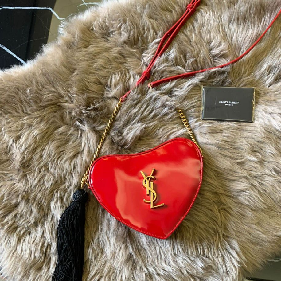 YSL CŒUR Red Patent Bag on Chain 540694 Shoulder Bags
