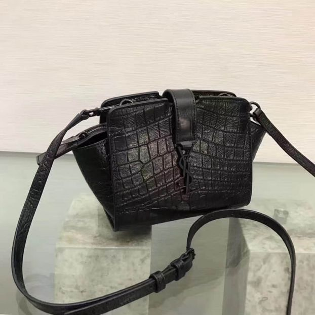 YSL Black Crocodile Embossing Leather TOYYSL CABAS Crossbody Shoulder Bags