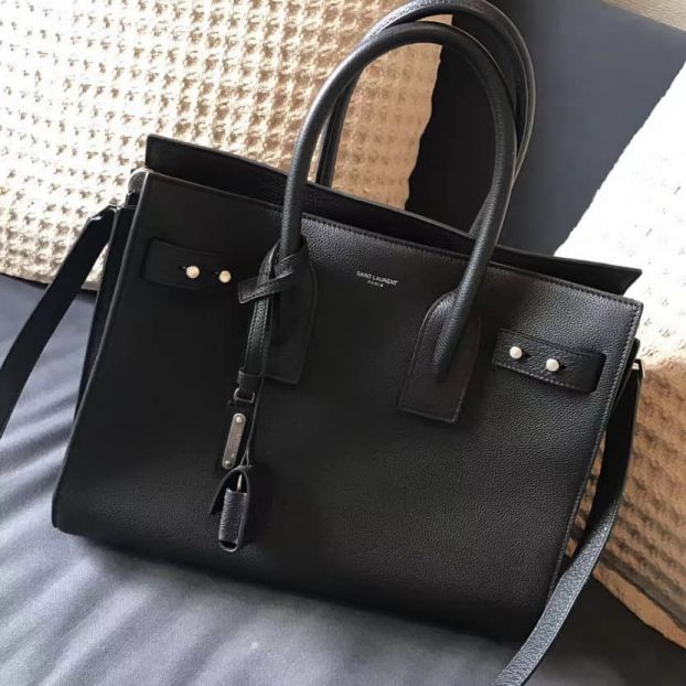 YSL Black Leather SAC DE JOUR 464960 Tote Bags