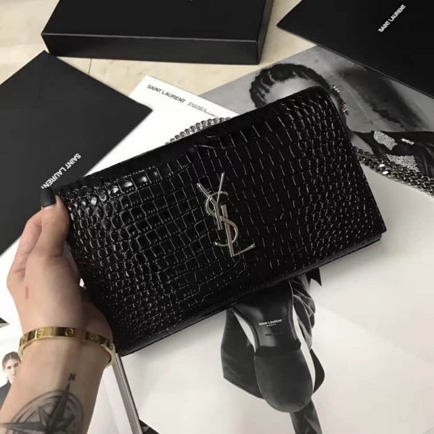 YSL Black Leather Crocodile Pattern Bag on Chain 442015E Shoulder Bags