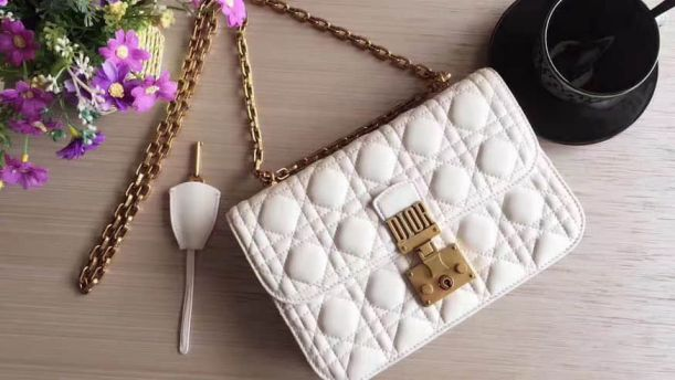CD ADDICT WHITE SOFT LEATHER FLAP CHAIN BAGS M5818