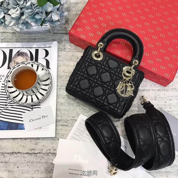 CD 2018LADY CD MINI 3# LEATHER TOTE BAGS BLACK