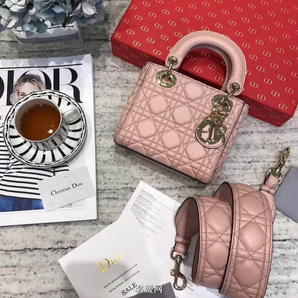 CD 2018LADY CD MINI 3# LEATHER TOTE BAGS PINK