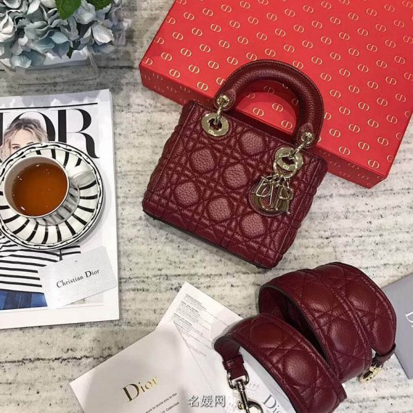 CD 2018LADY CD MINI 3# LEATHER TOTE BAGS WINE RED