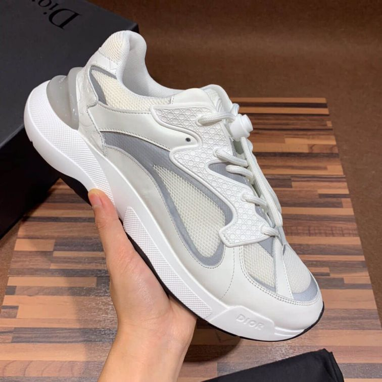 CD B24 WHITE SILVER UNISEX LEATHER SNEAKERS