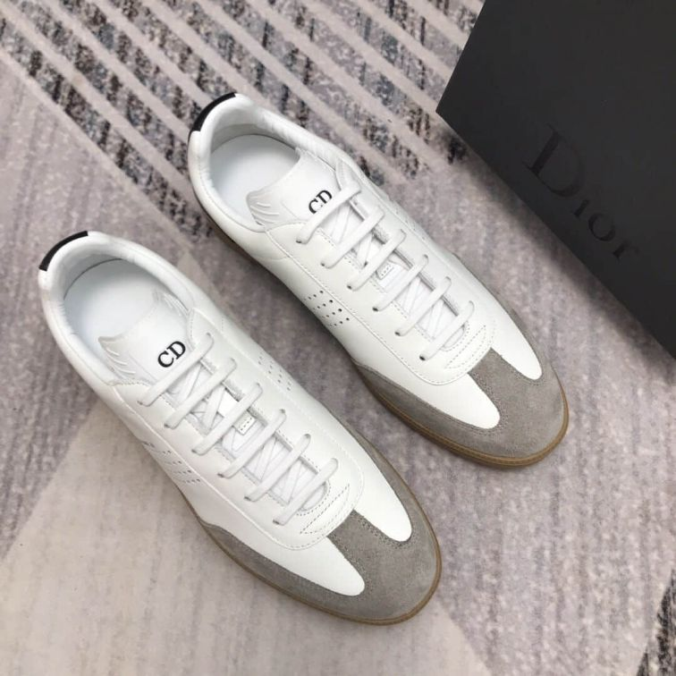 CD SNEAKERS WHITE BLACK LEATHER BEIGE SUEDE LEATHER MEN SNEAKERS