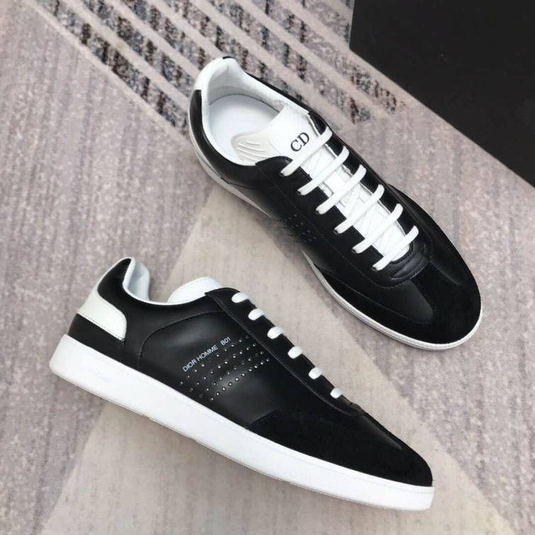 CD SNEAKERS WHITE BLACK LEATHER BLACK SUEDE LEATHER MEN SNEAKERS