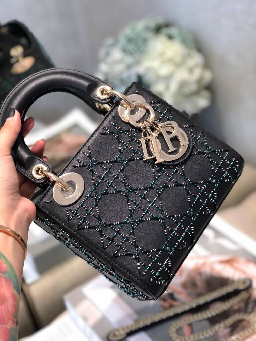 CD LADY MINI LIMITED EDITION BLACK GREEN CRYSTAL LEATHER BEADING LADY BAGS