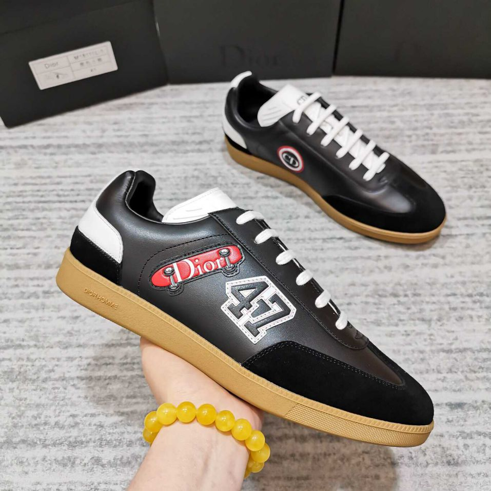 CD MEN SNEAKERS B0 SNEAKERS WHITE BLACK LEATHER SKATE SHOES