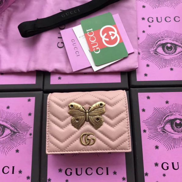 GG Marmont Animal Studs Case Butterfly 466492 Pink Women Card Holder