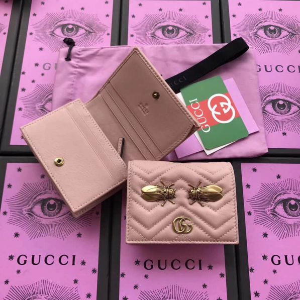 GG Marmont Animal Studs Case Bee 466492 Pink Women Card Holder