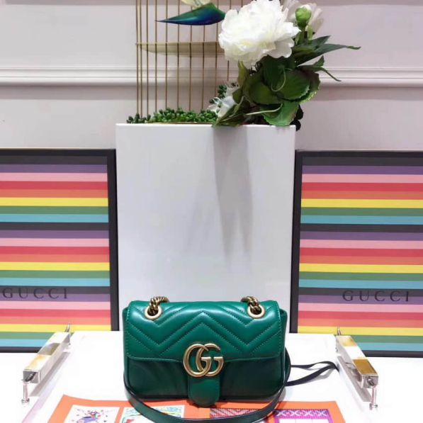 GG Marmont Epi Leather Chain 446744 Green Women Shoulder Bags