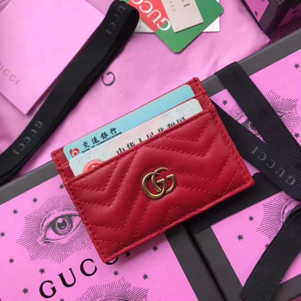 GG marmont 443127 Red Leather Women Card Holder