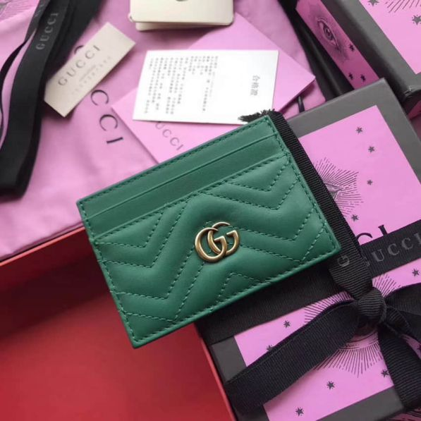 GG marmont 443127 Green Leather Women Card Holder
