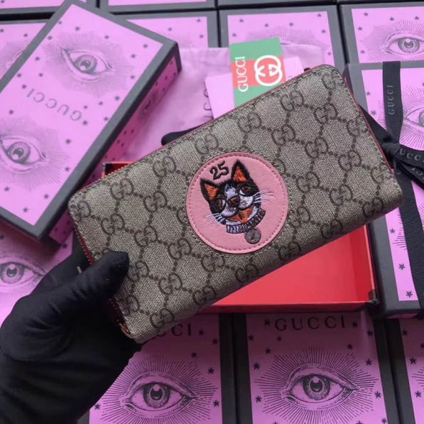 GG 2018SS NEW Embroidery Limited Edition zip 506279 Women Wallets