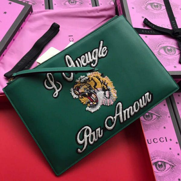 GG Green Leather Tiger Embroidery 431416 Men Clutch Bags