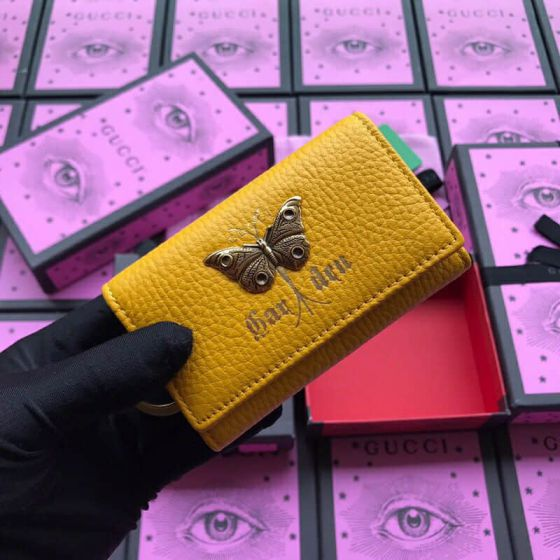 GG 2019SS NEW Key Bags 519801 Butterfly Leather Women Small Goods