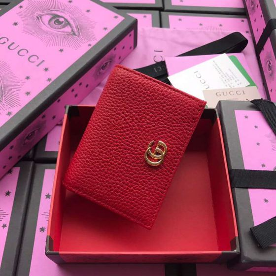 GG 456126 Red Leather Women Card Holder