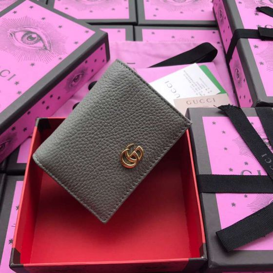 GG 456126 Grey Leather Women Card Holder