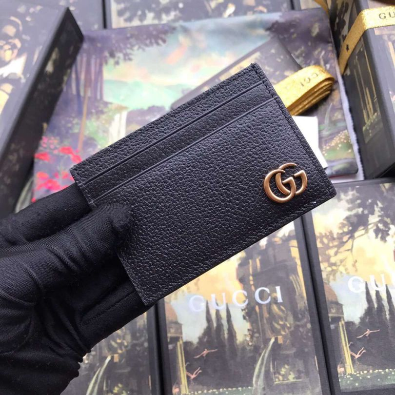 GG 436022 Black Leather Men Card Holder