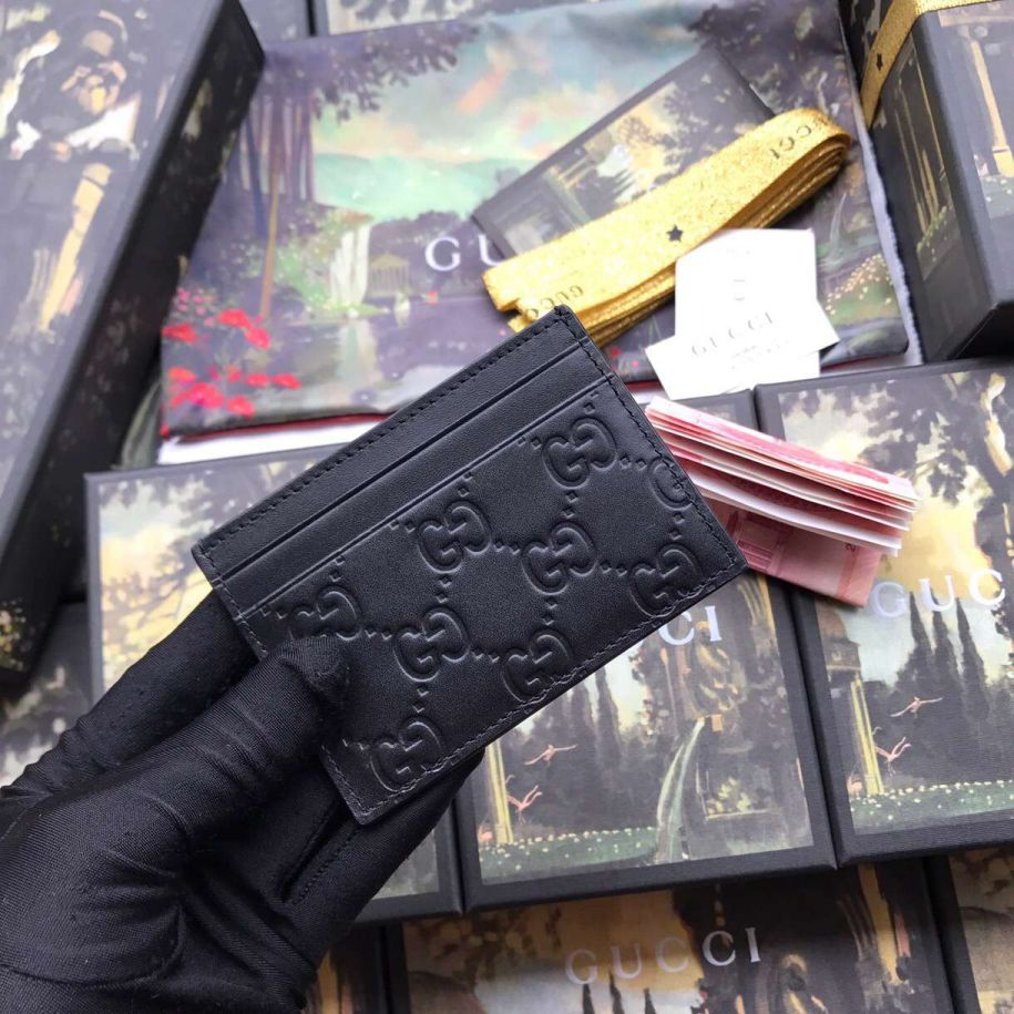 GG 308915 Black Leather Men Card Holder