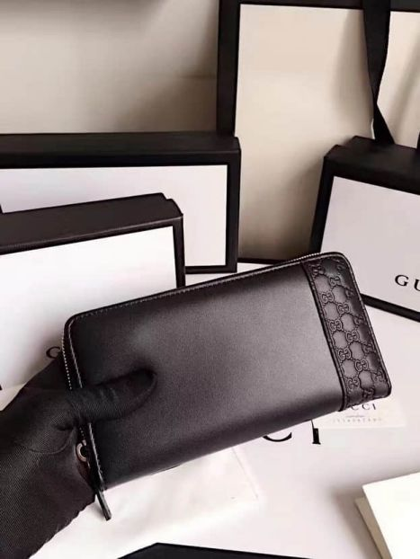 GG 2017 NEW 256439 GG Embossed Long zip Men Wallets