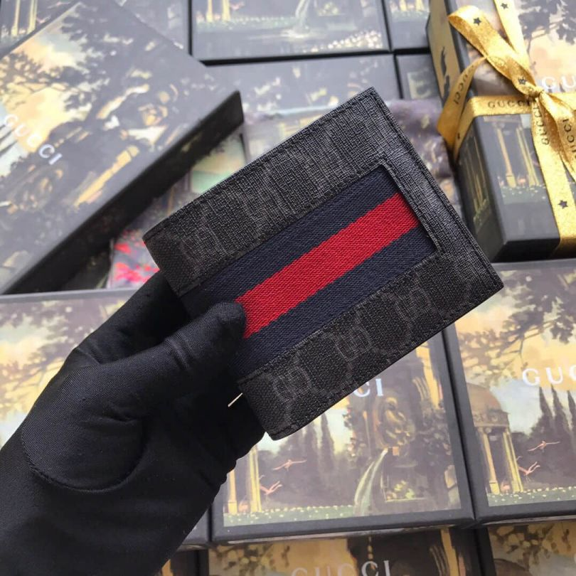 GG Black pvc Short Bi-fold 408827 Men Wallets