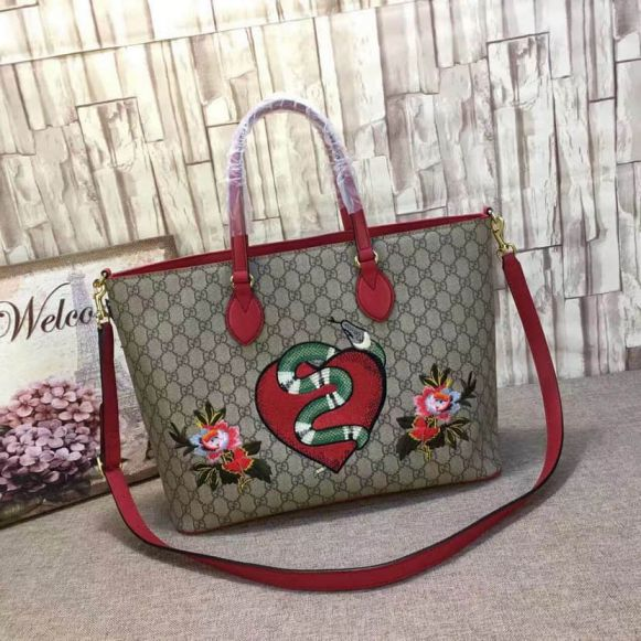 GG Limited Edition GG Snake Embroidery Shopper 453705 Women Shopping Bags