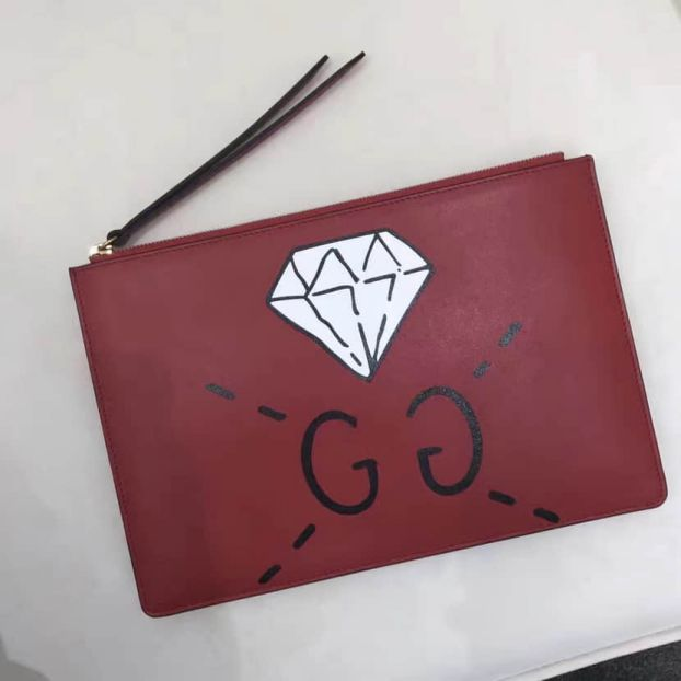 GG 2016FW GG Diamond Ghost 445597 Men Clutch Bags