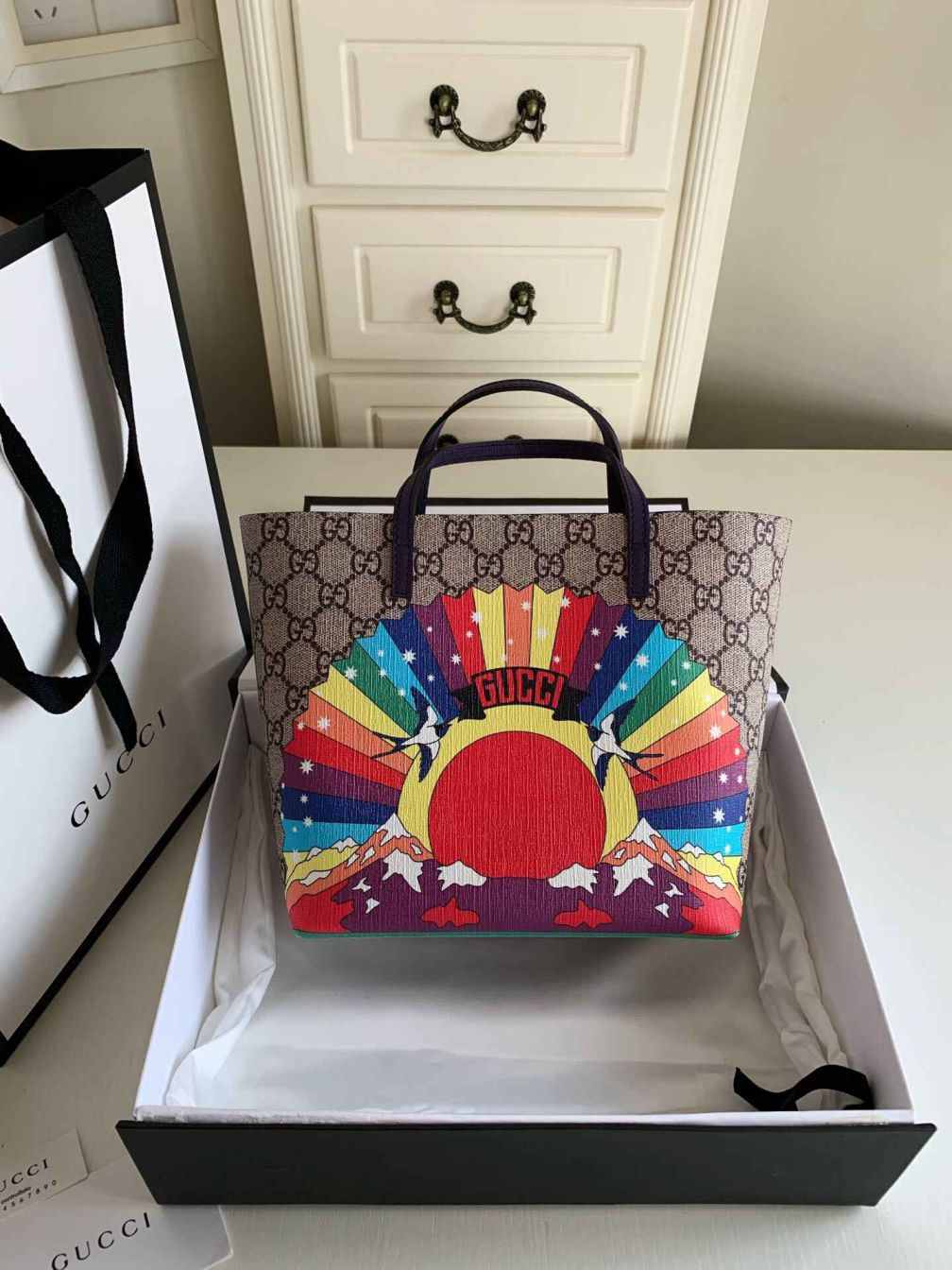 GG Childrens GG rainbow birds tote GG Shopper 410812 Women Shopping Bags