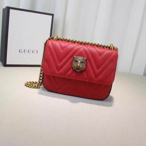 GG Cat Head Chain 432581 Red g Women Shoulder Bags