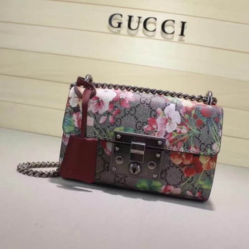 GG Padlock Canvas 409487 Small Rose Red Women Shoulder Bags