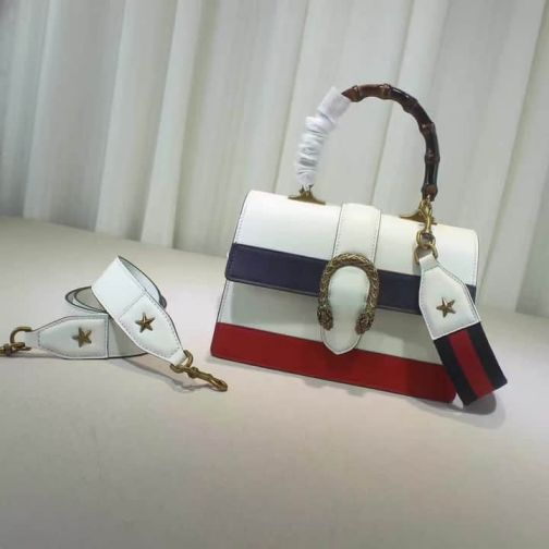 GG 2017SS Tote 448075 White Blue Red Women Clutch Bags