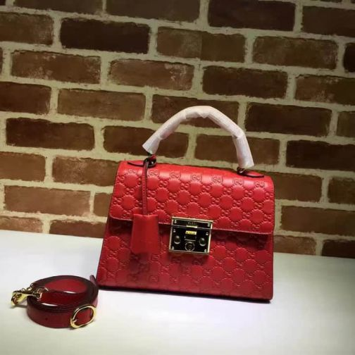 GG Padlock Tote Small 453188 Red Women Clutch Bags