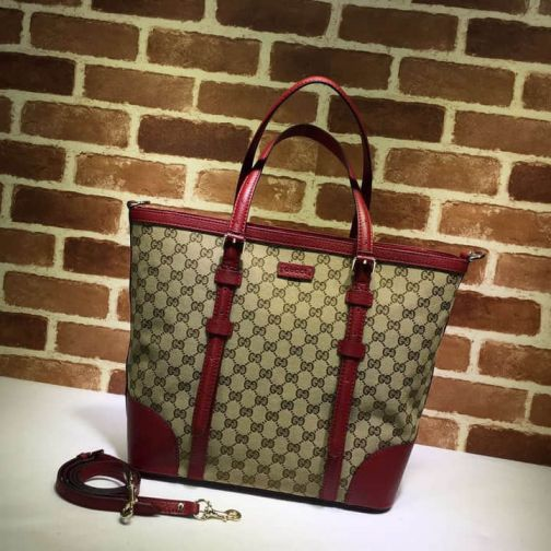 GG 2015NEW Canvas GG Classic Medium Shopper 387602 Wine Red Women Shopping Bags